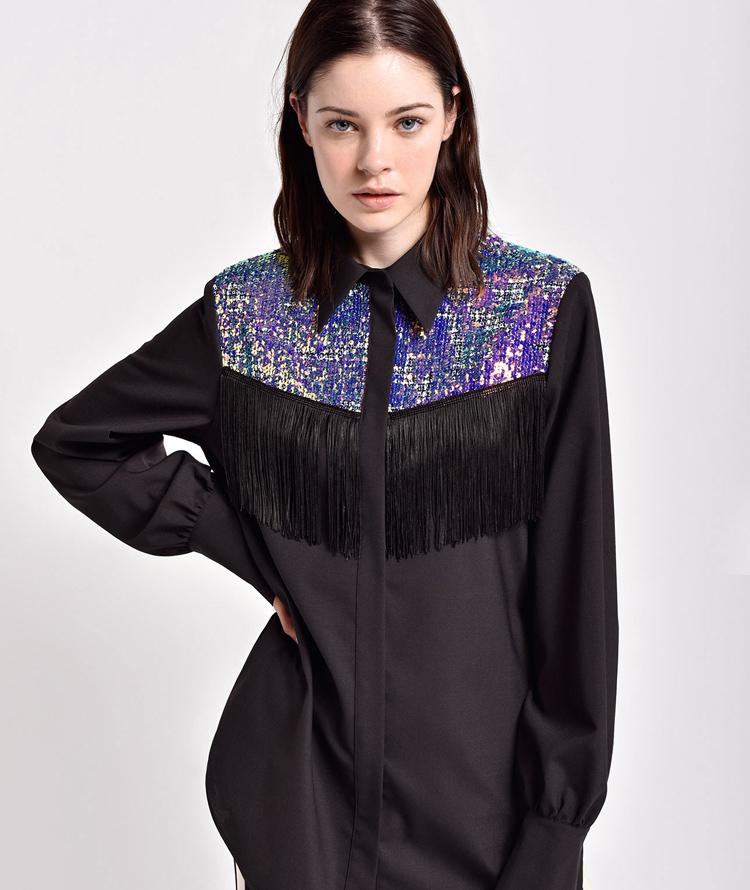 BLACK SHIRT WITH FRINGE AND IRIDESCENT SEQUINS