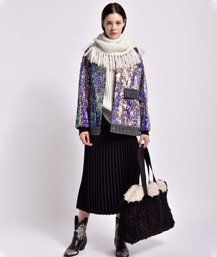 MAXI BOMBER JACKET WITH IRIDESCENT SEQUINS