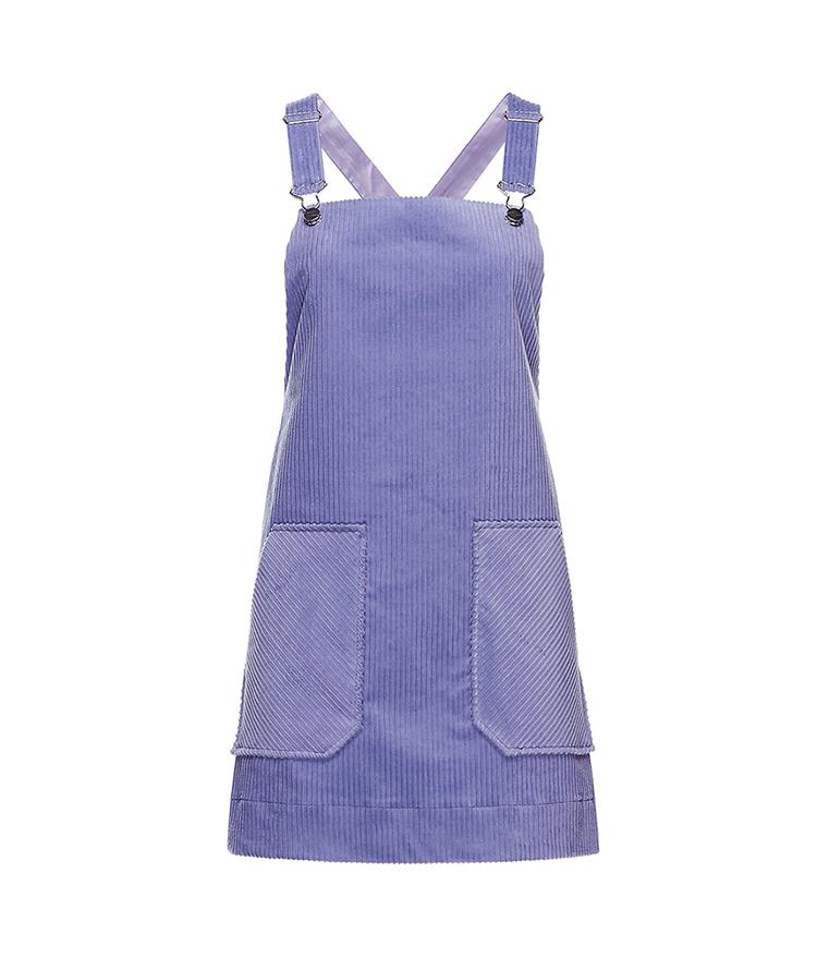 LILAC CORDUROY DUNGAREE DRESS