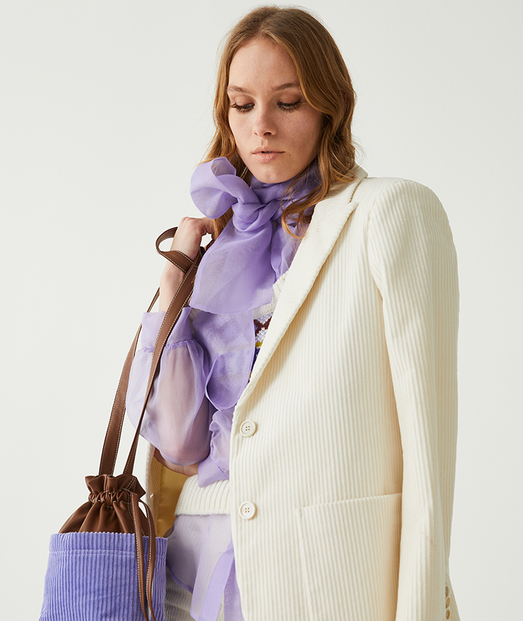SINGLE-BREASTED JACKET IN CREAM-COLOURED CORDUROY