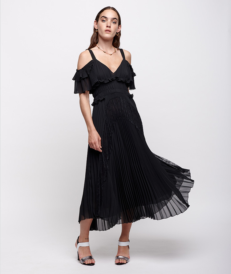 BLACK PLEATED MIDI DRESS WITH LACE AND RUFFLES