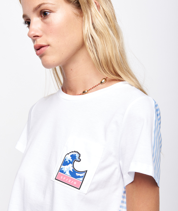 WHITE T-SHIRT WITH PLEATED PANEL
